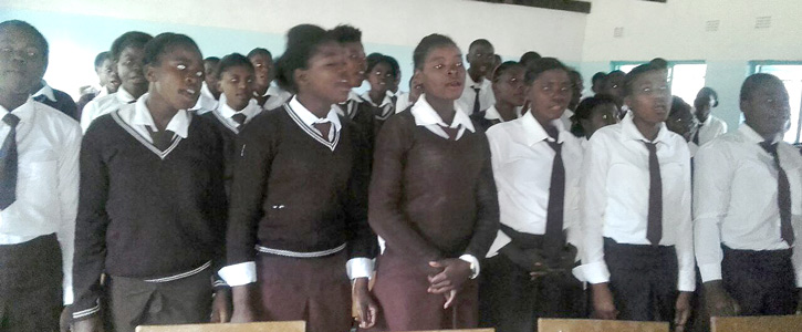 Nkeyema Secondary School Pupils singing a welcoming song for The Rotarians