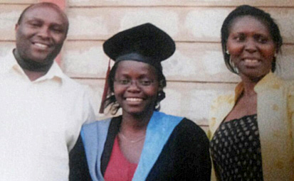 Ms Carolyne Wanjiku graduated in Bio-Chemistry and is currently pursuing Medicine at the University of Nairobi. She is accompanied by her mother Anne Wangari and Joseph Karanja.