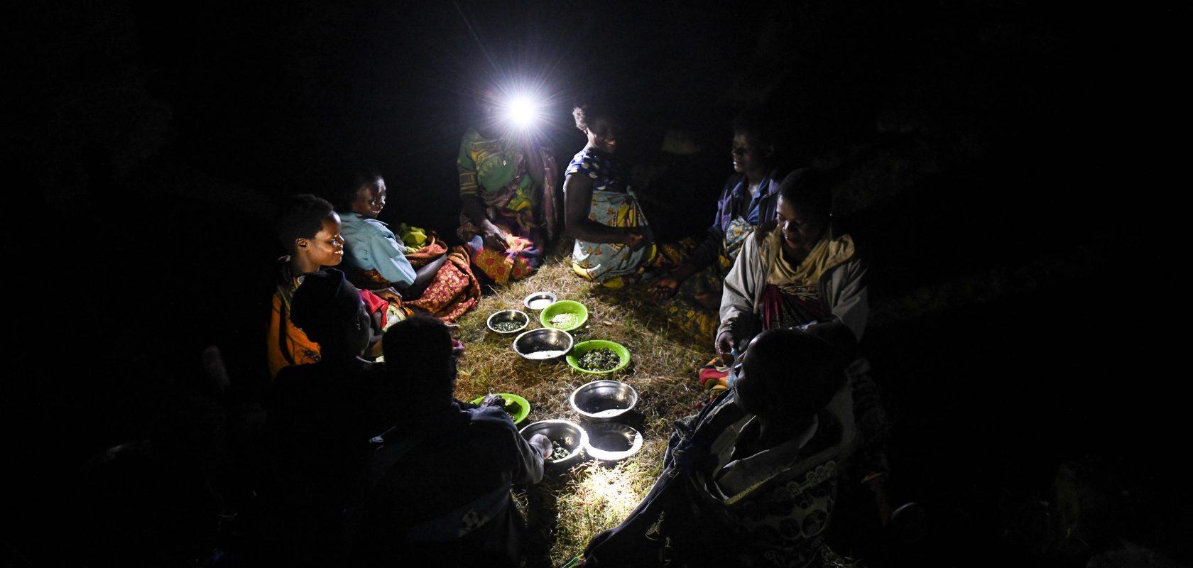 Eating dinner by solar light